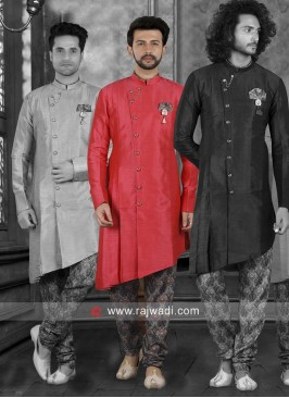 Art Silk Red Color Indo Western