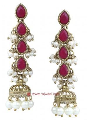 Stone and Pearl Jhumka Earrings