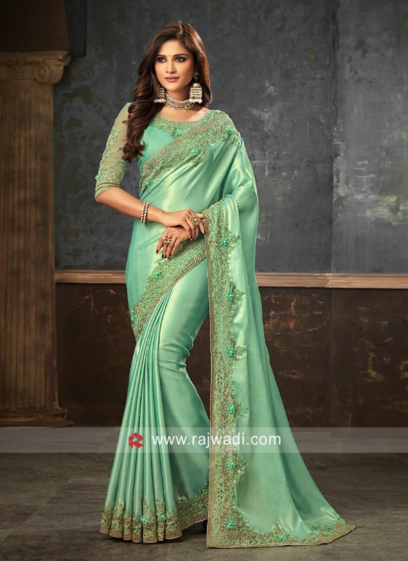 Stone and Pearl Work Party Wear Saree