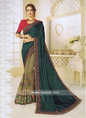 Stone and Sequins Work Half n Half Saree