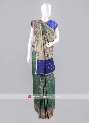 Stone and Zardozi Work Sari with Blouse