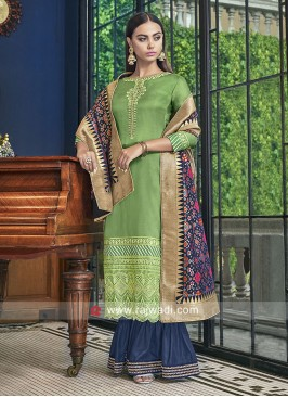 Stone and Zari Work Gharara Suit