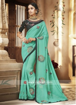 Stone and Zari Work Wedding Saree