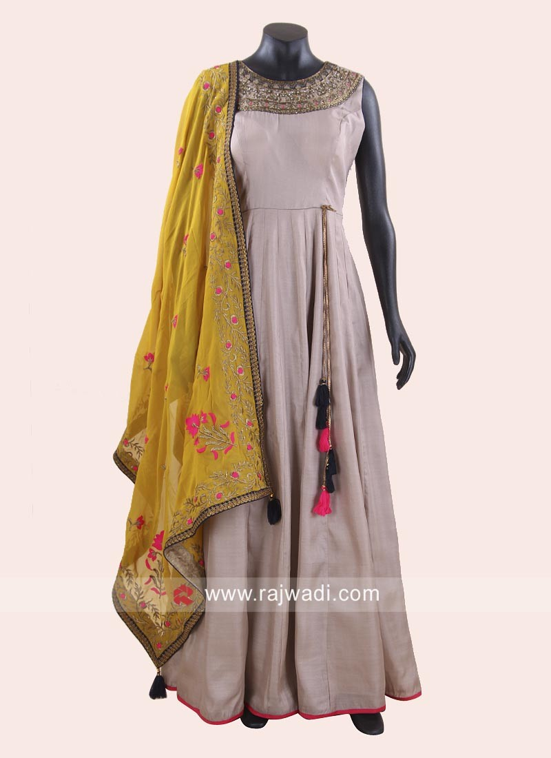Stone Work Anarkali with Dupatta