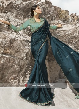 Stone Work Art Silk Saree with Blouse