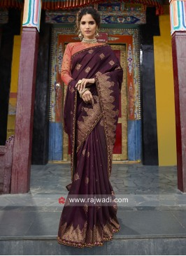 Stone Work Banarasi Silk Saree