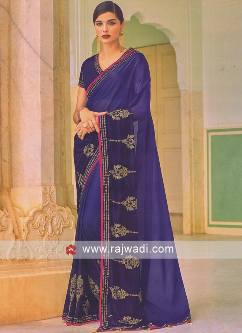 Stone Work Blue Saree
