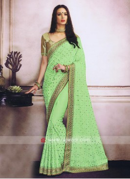 Stone Work Chiffon Silk Sari with Border