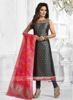 Stone Work Churidar Suit in Dark Grey