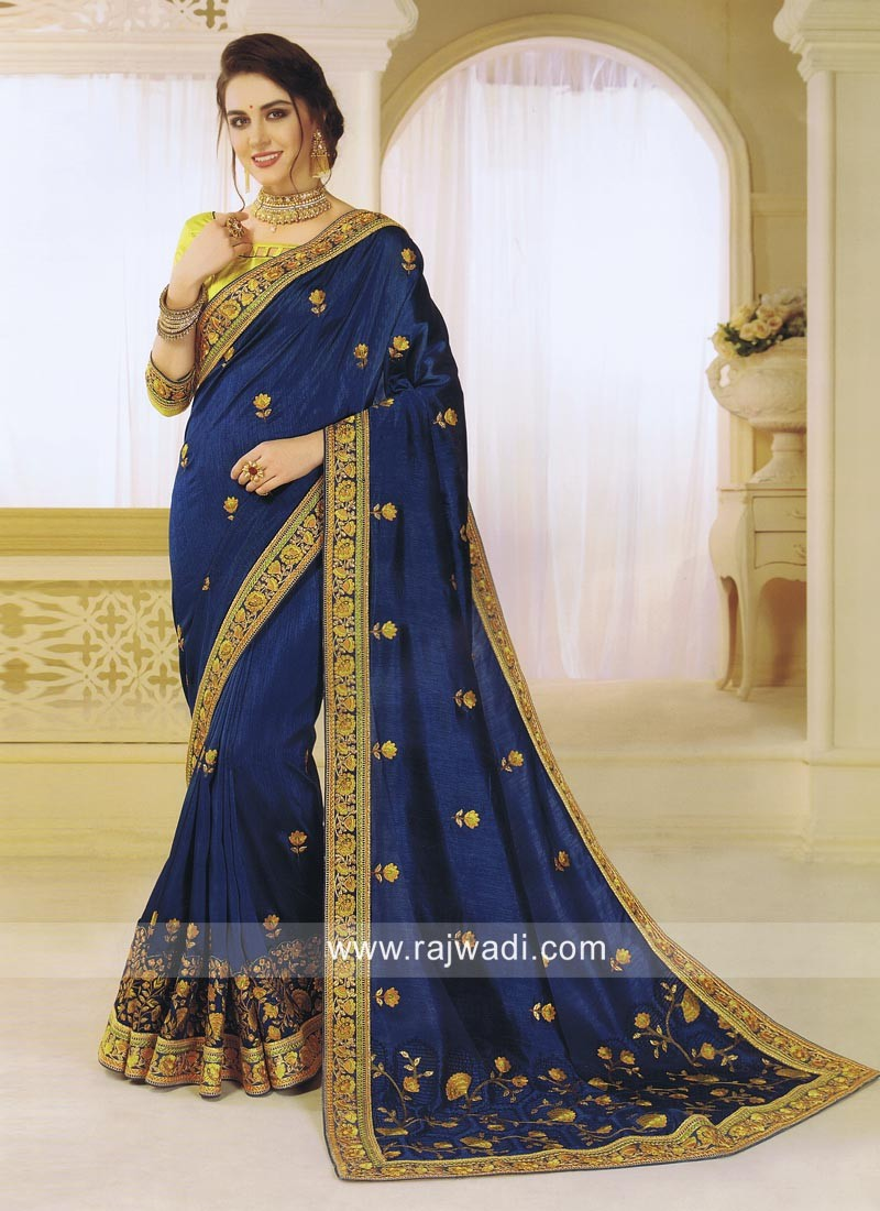 Stone Work Designer Saree in Blue