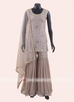 Stone Work Gharara Suit with Dupatta