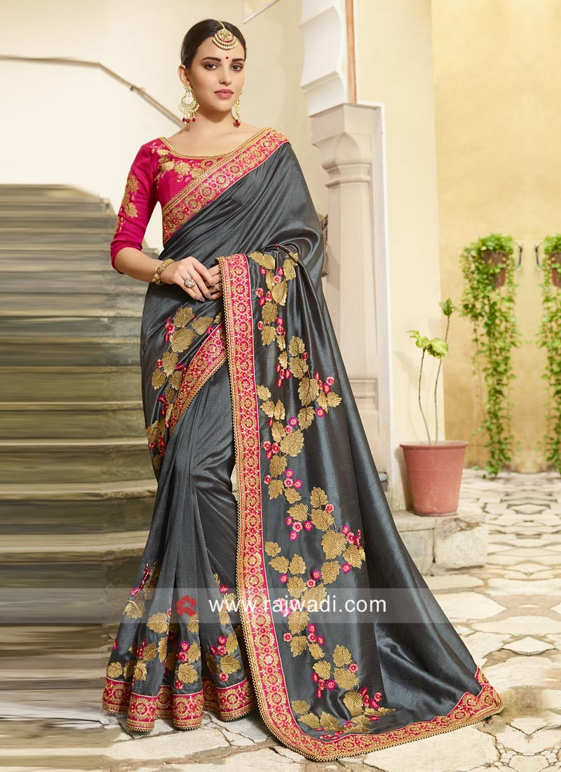 Stone Work Grey Saree