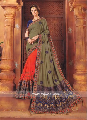 Stone Work Half n Half Saree with Tassels