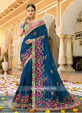 Stone Work Heavy Saree in Blue