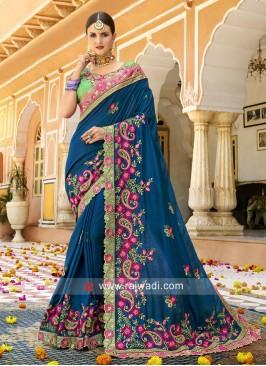 Stone Work Heavy Saree in Blue