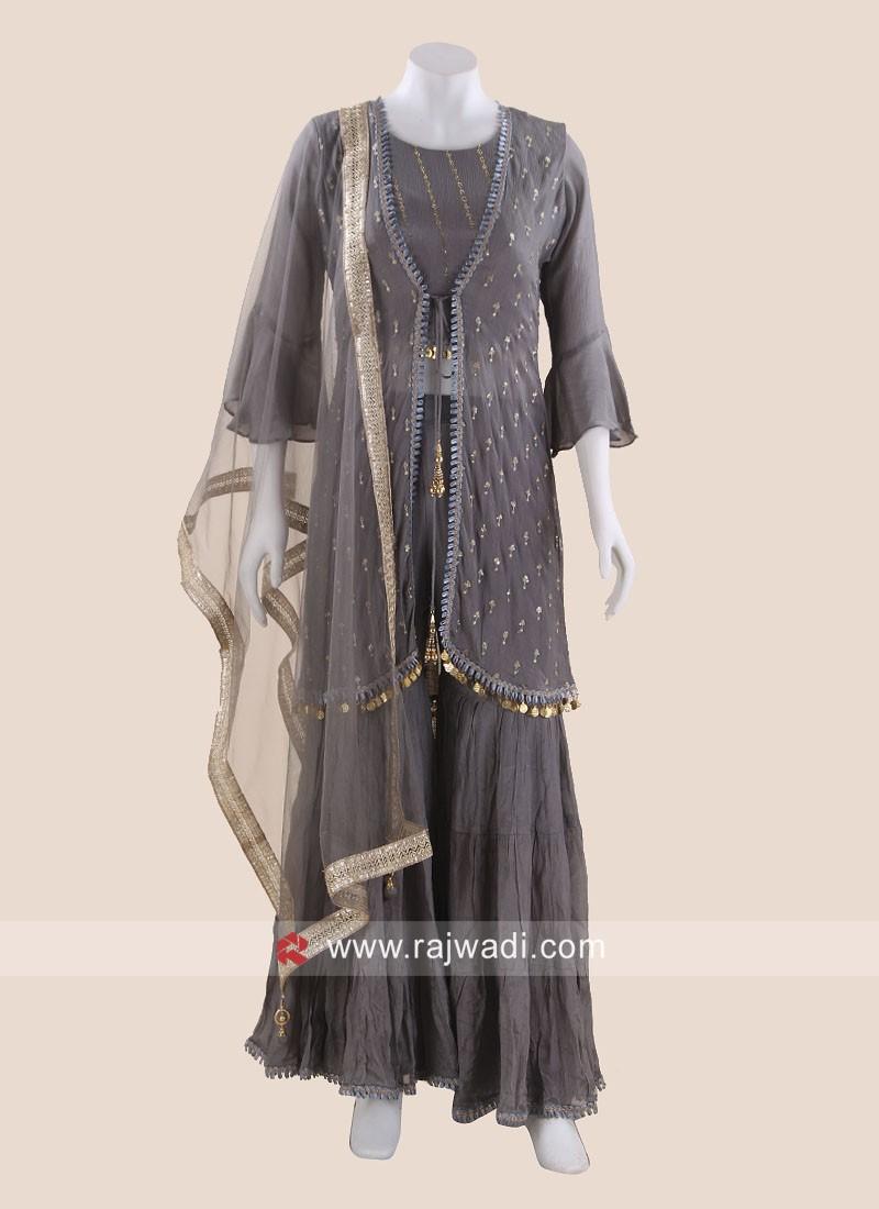 Stone Work Koti Style Gharara Suit