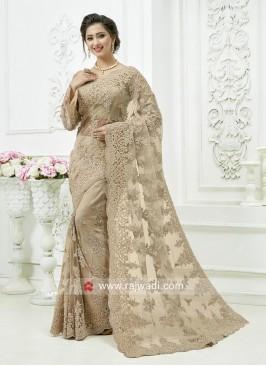 Stone Work Net Saree in Cream