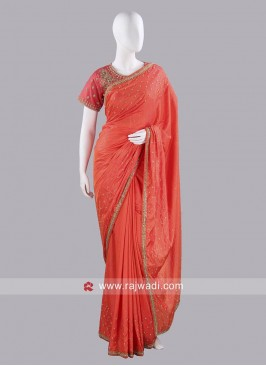 Stone Work Party Wear Saree