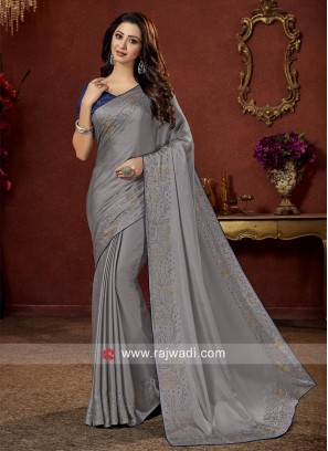Stone Work Party Wear Saree in Grey