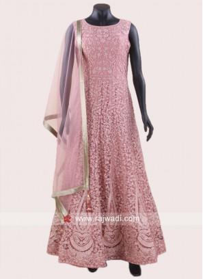 Stone Work Pink Anarkali Suit