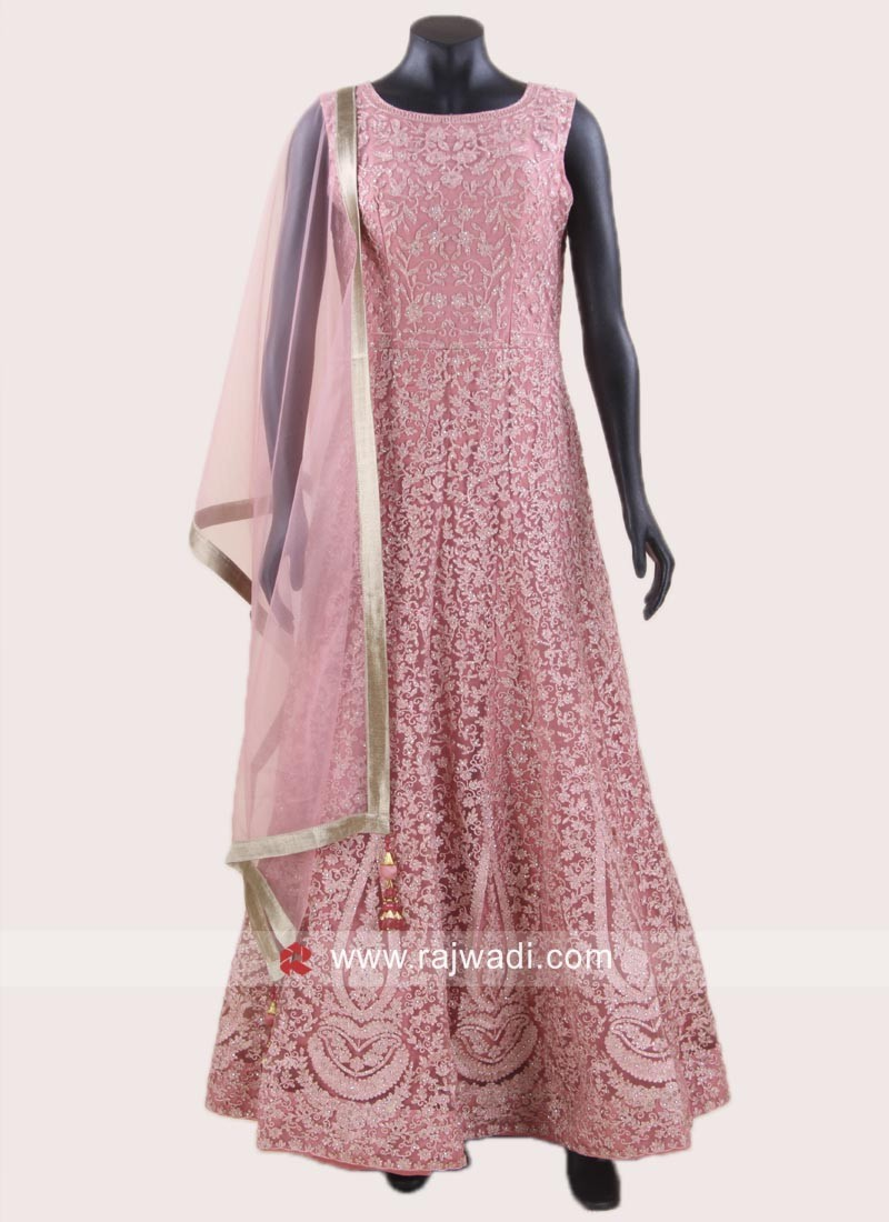 Stone Work Pink Anarkali Suit