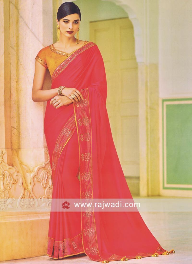 Stone Work Pink Saree with Blouse