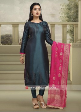 Stone Work Salwar Suit in Peacock Blue