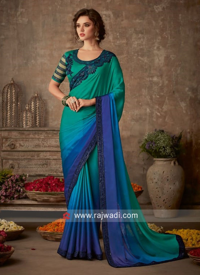 Stone Work Shaded Saree with Blouse