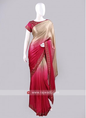 Stone Work Shaded Saree with Choli