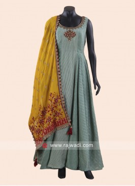 Stone Work Sleeveless Cotton Silk Anarkali Dress