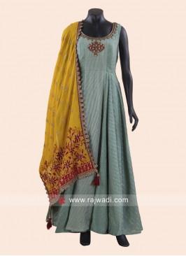 Stone Work Sleeveless Cotton Silk Anarkali Dress