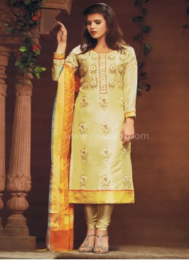 Stone Work Straight Churidar Suit