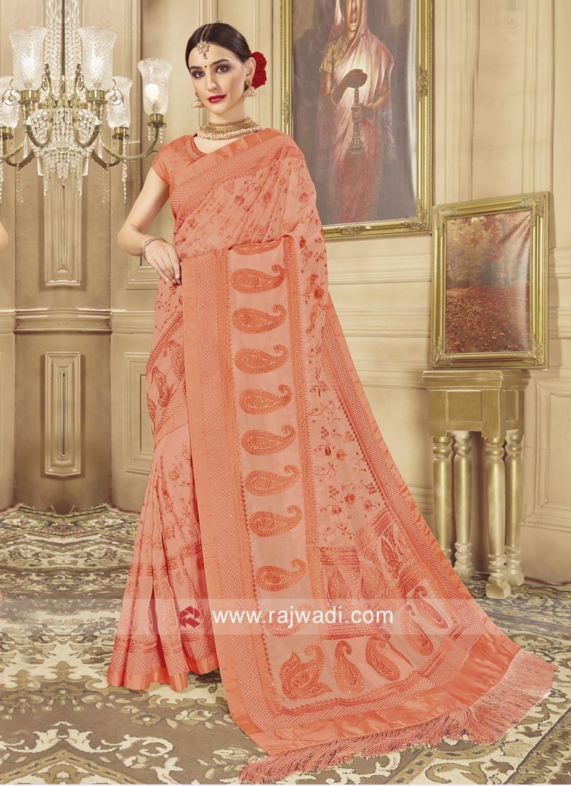 Stone Work Wedding Saree in Light Orange