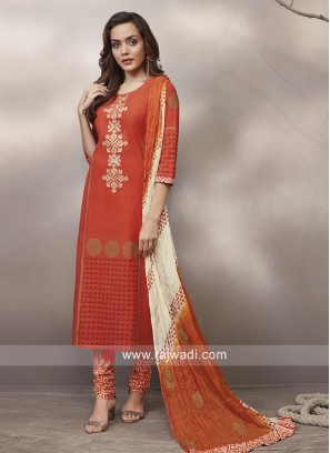 Straight Fit Cotton Churidar Suit
