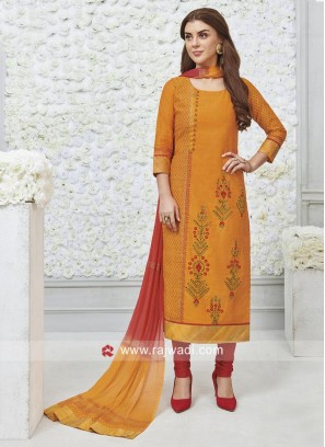 Straight Fit Embroidered Salwar Kameez