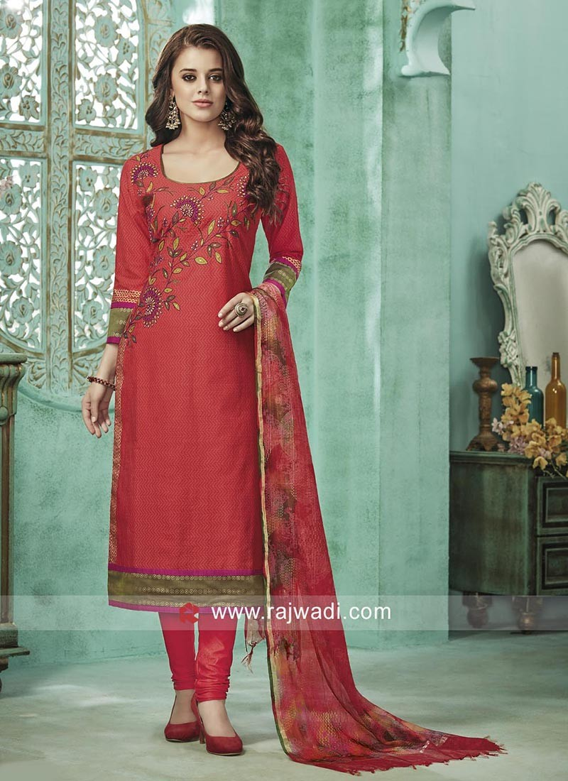 Straight Fit Embroidered Salwar Suit