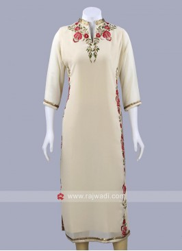 Straight Fit Flower Work Kurti