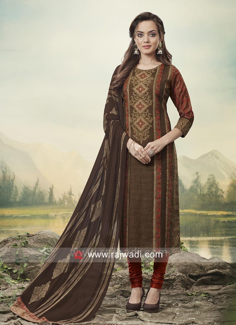 Straight Fit Jute Silk Salwar Suit