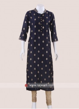 Straight Fit Kurti in Navy Blue