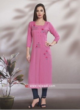 Straight Fit Light Pink Kurti