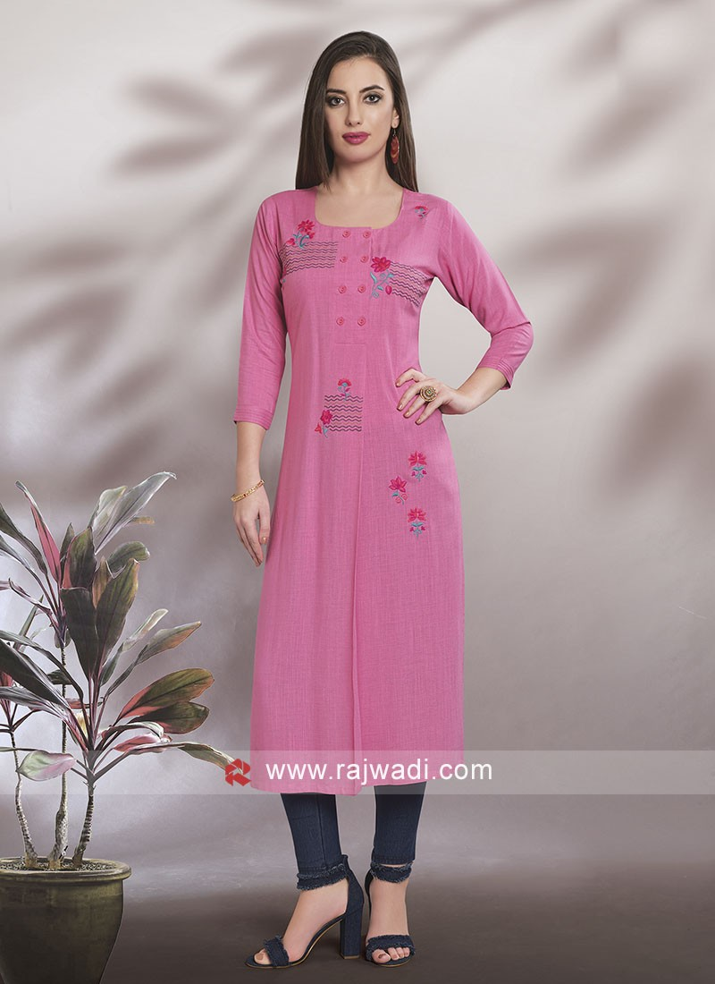 Straight Fit Light Pink Kurti