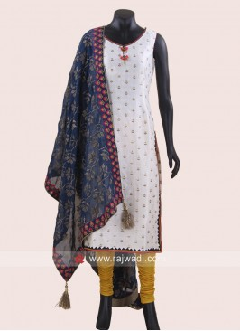 Straight Fit Mirror Work Churidar Suit