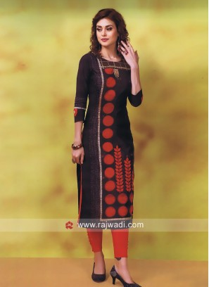 Straight Fit Patch Work Kurti