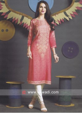 Straight Fit Peach Kurti