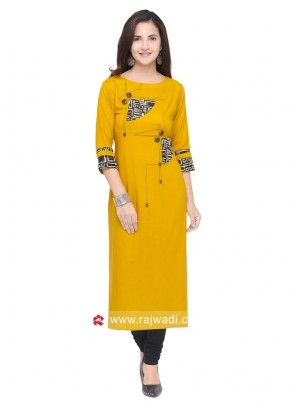 Straight Fit Printed Kurti in Yellow