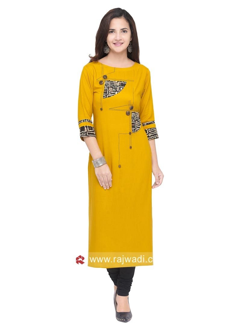 Straight Fit Printed Kurti in Yellow