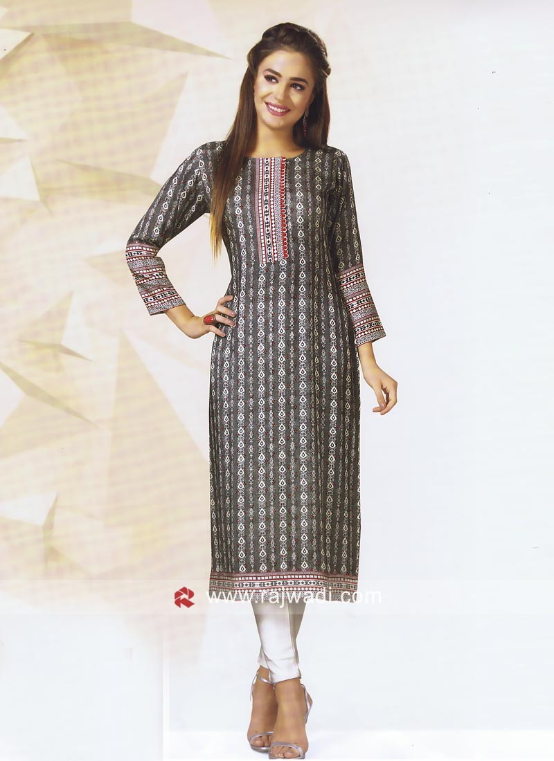 Straight Fit Printed Kurti with Sleeves