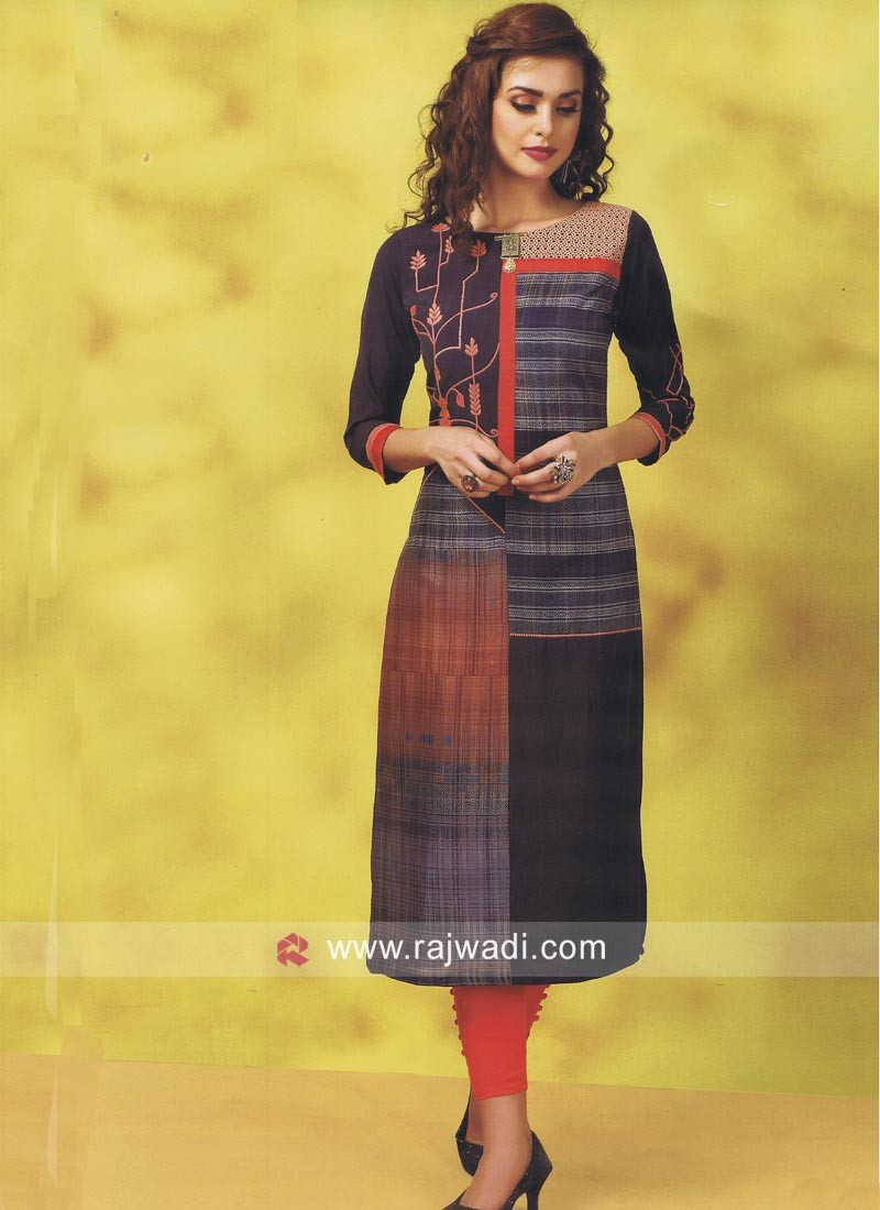 Straight Fit Readymade Printed Kurti