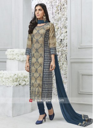 Straight Fit Resham Work Salwar Kameez