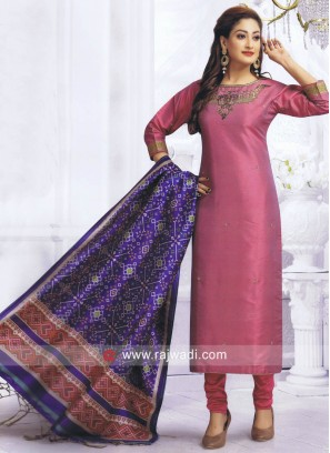 Straight Fit Salwar Kameez with Dupatta